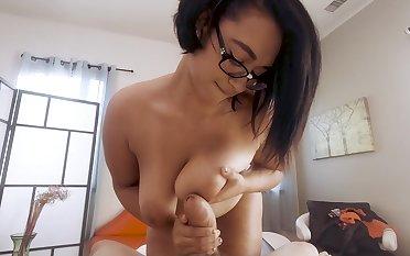 Homemade POV pic of chubby Emori Pleezer getting cum above tits