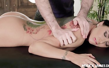 Big titty massage and upside involving throat lady-love scene featuring Romi Rain