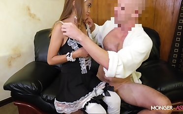 Asian escort Jennie puts on sexy maid uniform and gets fucked by scalding migrant