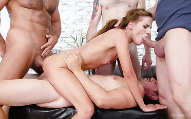 Mean babe endures way too much cocks into her tiny holes