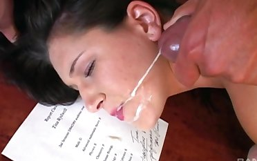 Hardcore pussy plus mouth fucking ends relating to a facial be advisable for Yvette Balcano