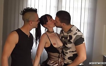 Slim, dark haired woman in tattoos, Ania got down and dirty in four handsome guys