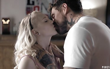 After kissing her horny step dad naughty Lily Rader gets nice cunnilingus