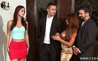 Foursome fucking on the day-bed with wives Karlie Montana added to Madison Ivy