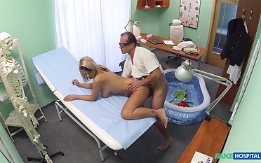 Luci Promoter fucked by her doctor at hand a small inflatable unify