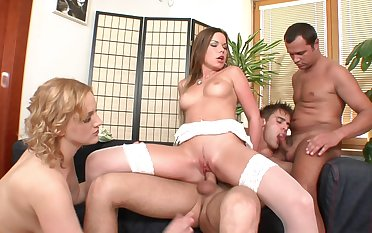 Wild group sex orchestra with Perry, Siena and 2 bisexual guys
