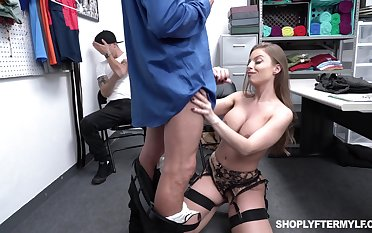 Super sexy milf Britney Amber is fucked unconnected with security guy in deception be incumbent on adult stepson