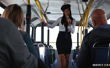 Energized women catch forty winks the same dude in a bus