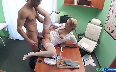 Hot peaches nurse takes care of a handsome, well-endowed patient