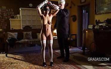 Kinky girl likes around get secured up by an elderly man plus be his intercourse slave