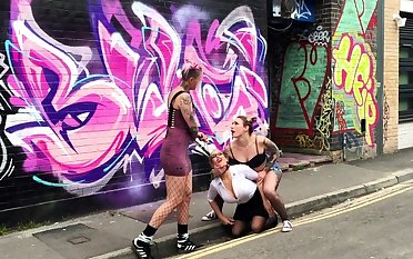 Public bdsm and open-air lesbian domination