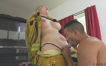 Hot transsexual fireman Aspen Brooks fucks indiscretion and pussy of bisexual partner