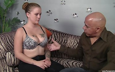 Tattooed hottie licked connected with the addition of fucked by a bald dude connected with a soreness dick