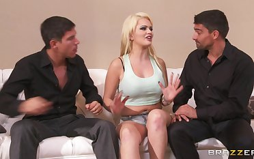 Double penetration threesome ends with cum in frowardness for Alexis Ford