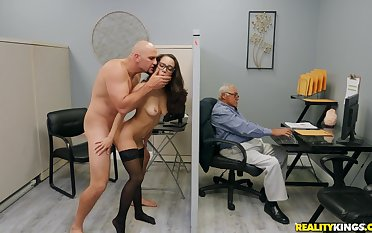 Energized sob sister tries the cock right readily obtainable the office