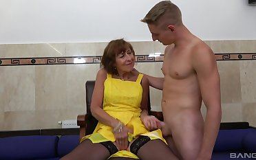 Amateur fucking between a handsome younger guy increased by adult Dana