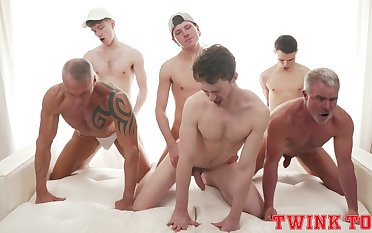 Hunky contrive of young gay boys delights in a daring anal orgy
