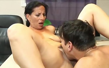Awesome 63yo Adult Mom with Hot Body having Orgasm with her 22yo King