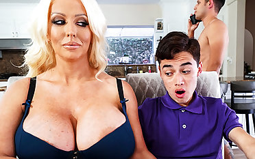 Busty stepmom interested to bent schoolboy's dick