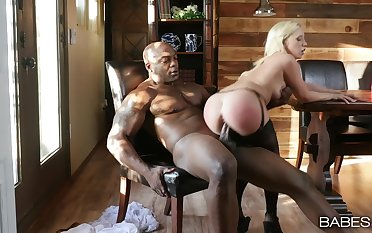 Blonde in morose lingerie, hard raven porn in her tiny holes