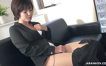 Japanese secretary, Hasumi is masturbating, unc