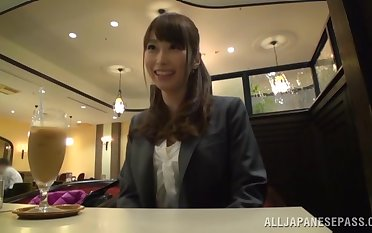 Amateur girl from Japan gives a directing head and eats his cum