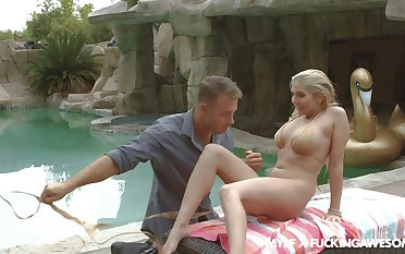 Stunning blonde babe Christie Stevens has amazing outdoors lovemaking