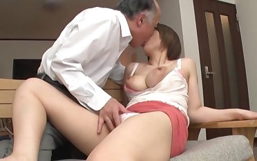 Old tramp fucks busty Japanese doll in crazy XXX scenes