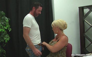 Nude cougar with huge tits, premium handjob in a subhuman play