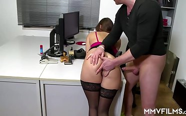 Sultry office nymph is many a time wearing ebony pantyhose and getting analed rigid, while at dissemble