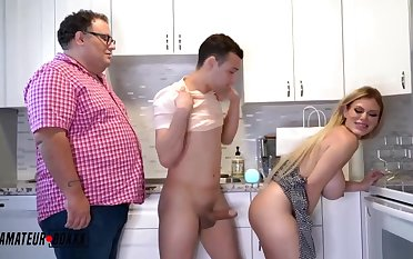 Fabulous light-haired COUGAR with phat, collapsing breasts is juggling up and about while having casual fuck-fest