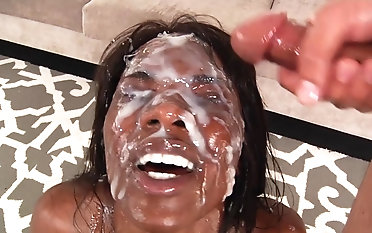 Ebony slut amazing facial scenes in bukkake XXX