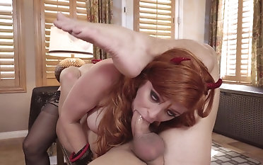 Busty redhead mom takes it right down the bum